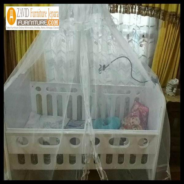 tempat tidur bayi minimalis kelambu - Box Bayi Kelambu Kayu Minimalis