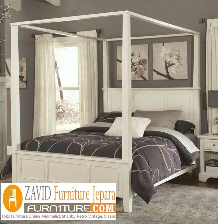 tempat-tidur-kanopi-duco-minimalis Tempat Tidur Kanopi Klasik Kayu Jati Ukiran Terbaru Jepara