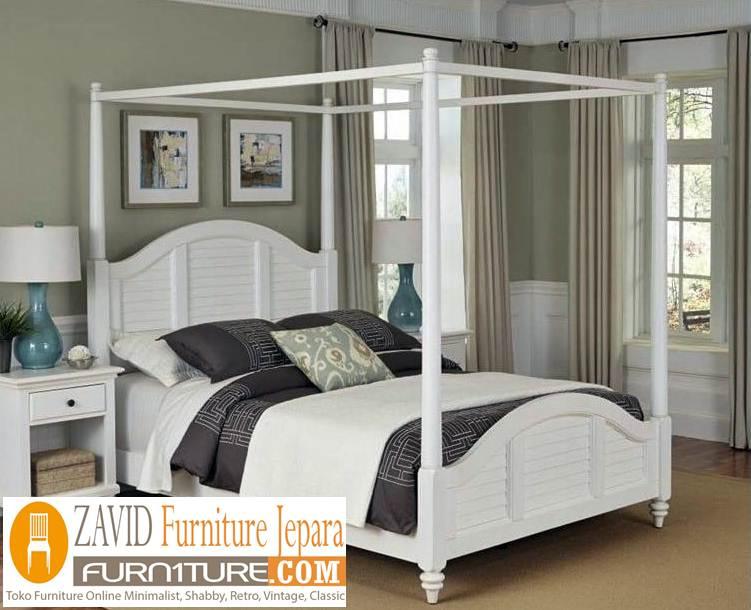 tempat-tidur-kanopi-putih-duco-baru Tempat Tidur Kanopi Klasik Kayu Jati Ukiran Terbaru Jepara