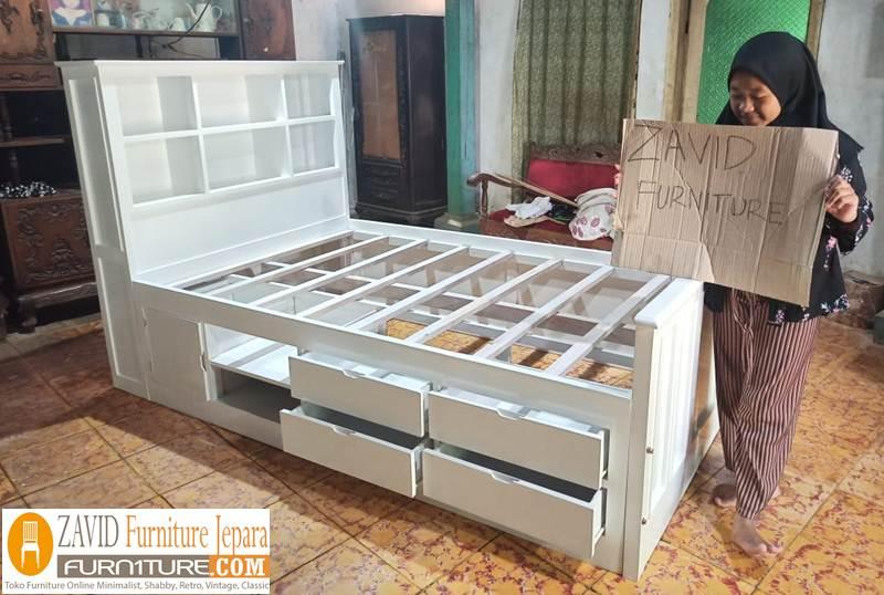 tempat tidur laci minimalis putih duco - Tempat Tidur Tangerang Laci Minimalis Duco Baru