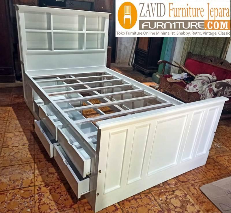tempat tidur laci putih duco minimalis baru - Tempat Tidur Tangerang Laci Minimalis Duco Baru