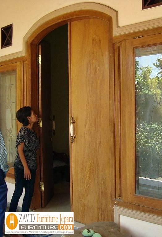 jual pintu rumah kayu trembesi - Pintu Kayu Trembesi Modern Alami