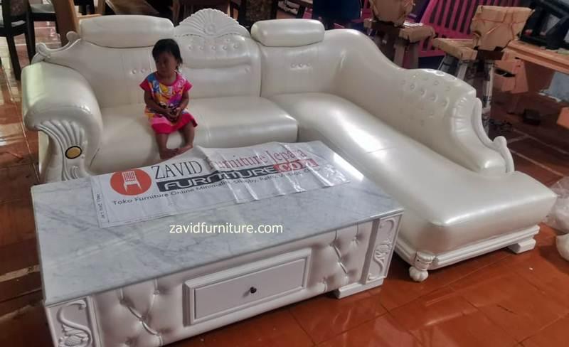 kursi tamu sudut putih - Kursi Tamu Sudut Tuban Sofa Putih Duco Modern