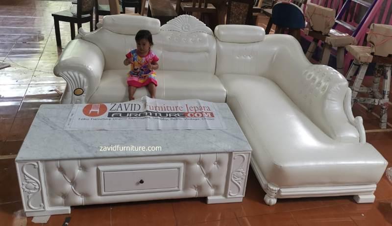 kursi tamu sudut sofa putih - Kursi Tamu Sudut Tuban Sofa Putih Duco Modern