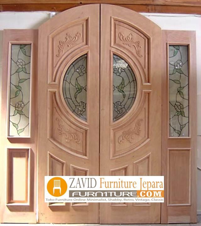 kusen pintu kupu tarung - Pintu Kupu Tarung Variasi Kaca Kayu Jati Minimalis