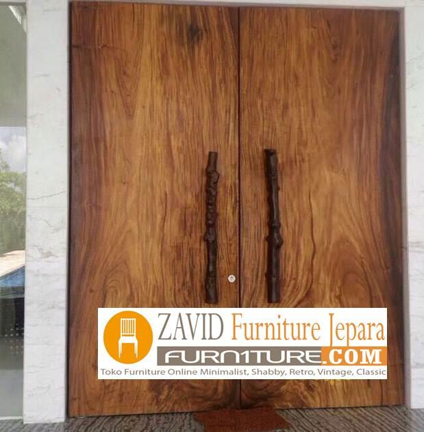 pintu rumah kayu trembesi baru - Pintu Kayu Trembesi Modern Alami