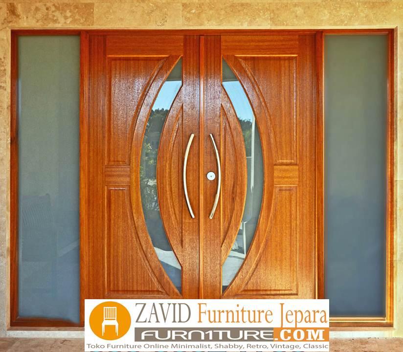 pintu rumah kupu tarung - Pintu Kupu Tarung Variasi Kaca Kayu Jati Minimalis