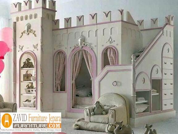tempat tidur anak desain istana - Tempat Tidur Anak Istana Desain Mewah Modern