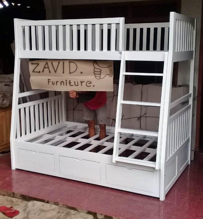 tempat tidur tingkat putih duco dengan laci - Tempat Tidur Sidoarjo Desain Tingkat Putih Duco