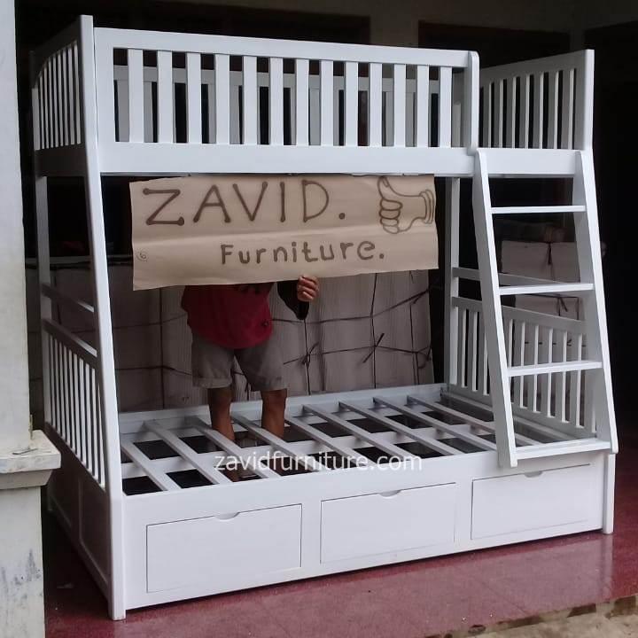 tempat tidur tingkat putih duco laci baru - Tempat Tidur Sidoarjo Desain Tingkat Putih Duco
