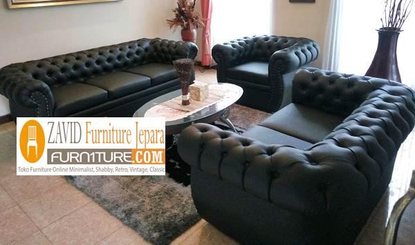 kursi sofa kulit desain variasi kancing - Kursi Sofa Kulit Asli Mewah Klasik Terbaru