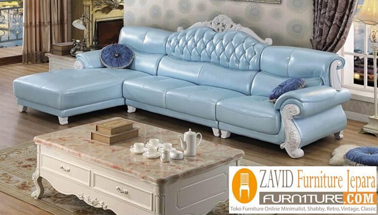 kursi sofa kulit sudut putih - Kursi Sofa Kulit Asli Mewah Klasik Terbaru