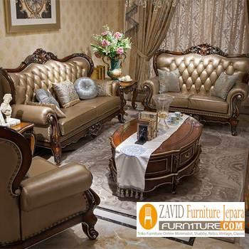 kursi sofa kulit ukir baru - Kursi Sofa Kulit Asli Mewah Klasik Terbaru
