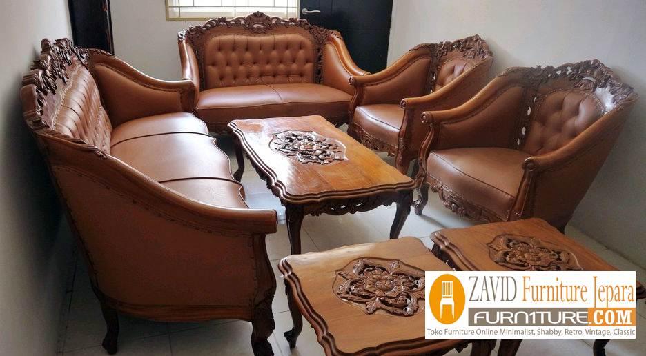kursi sofa kulit ukiran terbaru - Kursi Sofa Kulit Asli Mewah Klasik Terbaru