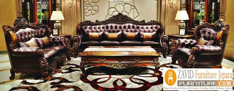 kursi sofa kulit ukiran - Kursi Sofa Kulit Asli Mewah Klasik Terbaru