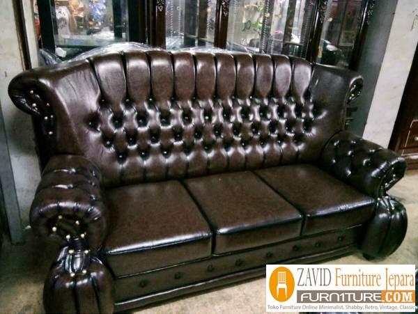 kursi sofa kulit variasi kancing mewah - Kursi Sofa Kulit Asli Mewah Klasik Terbaru