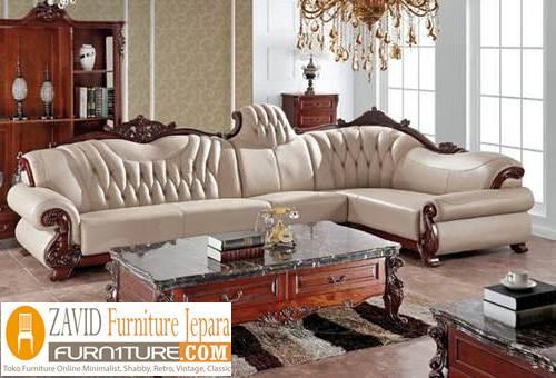 kursi sofa sudut kulit - Kursi Sofa Kulit Asli Mewah Klasik Terbaru