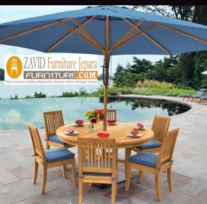 meja kursi pantai payung kayu jati baru - Meja Kursi Pantai Kayu Jati Payung