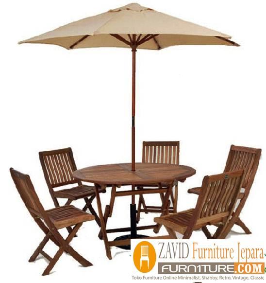meja kursi pantai payung kayu jati solid - Meja Kursi Pantai Kayu Jati Payung