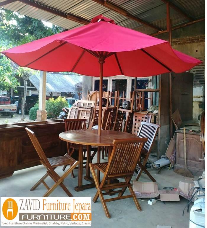 meja kursi payung kayu jati solid baru - Meja Kursi Pantai Kayu Jati Payung