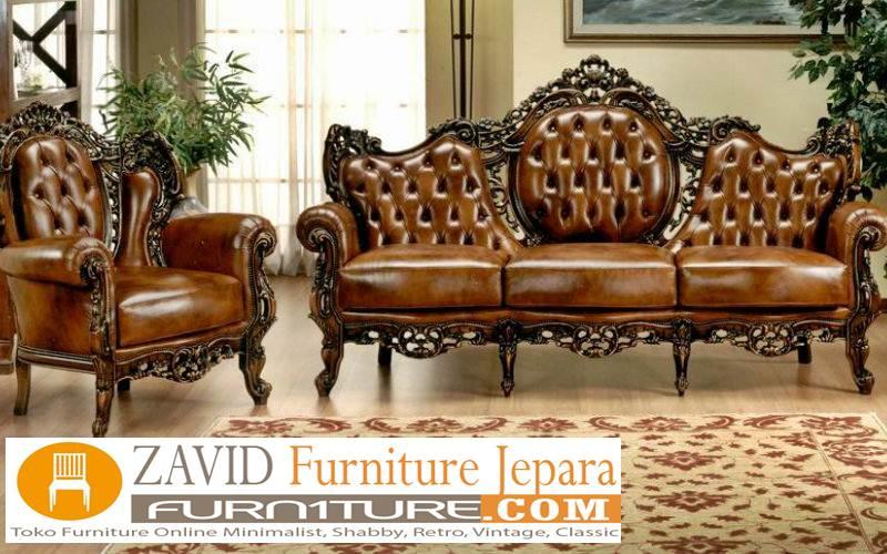 sofa kulit ukir klasik - Kursi Sofa Kulit Asli Mewah Klasik Terbaru