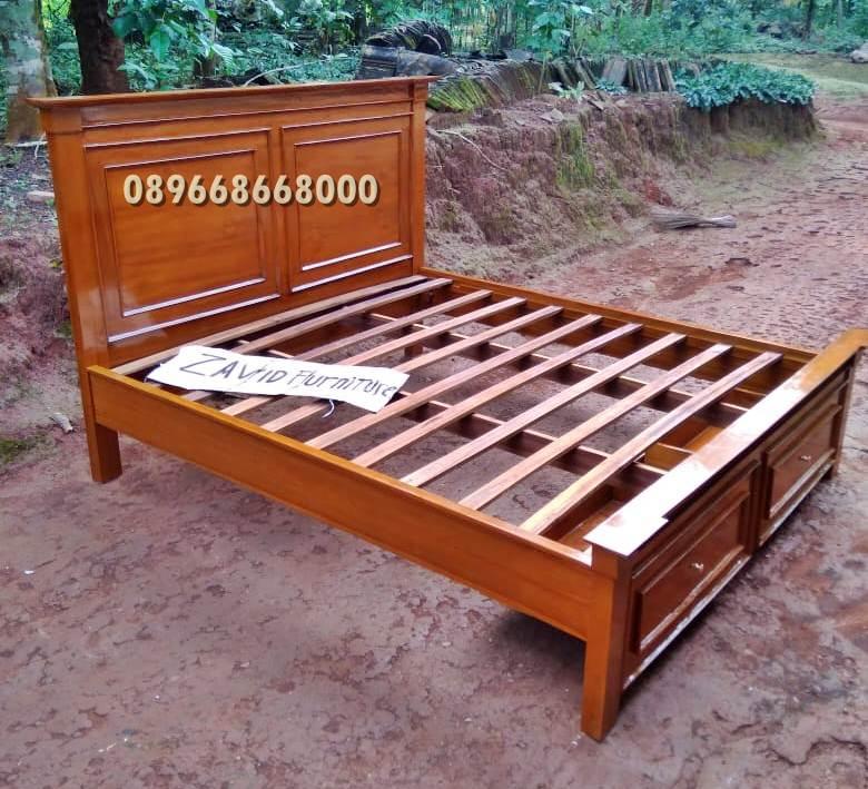 tempat tidur laci kayu jati desain minimalis - Tempat Tidur Laci Gresik Kayu Jati Solid
