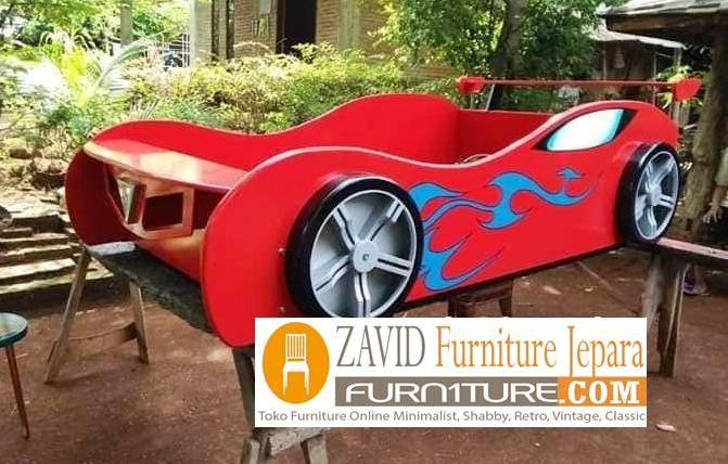 tempat tidur anak karakter mobil baru - Tempat Tidur Anak Karakter Mobil Balap Untuk Anak Laki-Laki