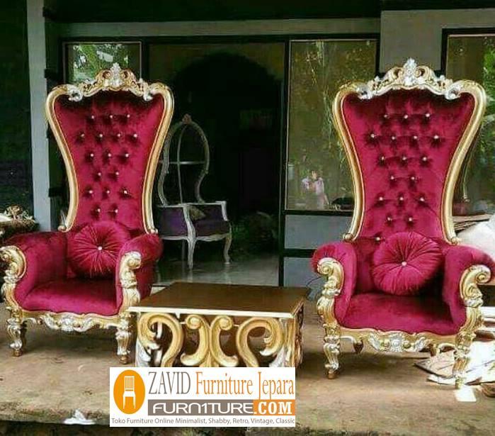 kursi raja dan ratu ukir kayu jati 1 - Kursi Raja dan Ratu Kayu Jati Ukir Desain Minimalis Modern