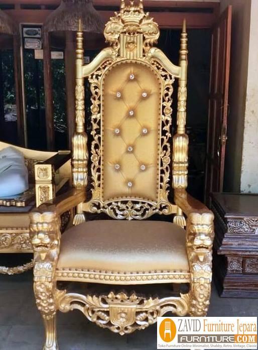 kursi raja dan ratu warna gold - Kursi Raja dan Ratu Kayu Jati Ukir Desain Minimalis Modern