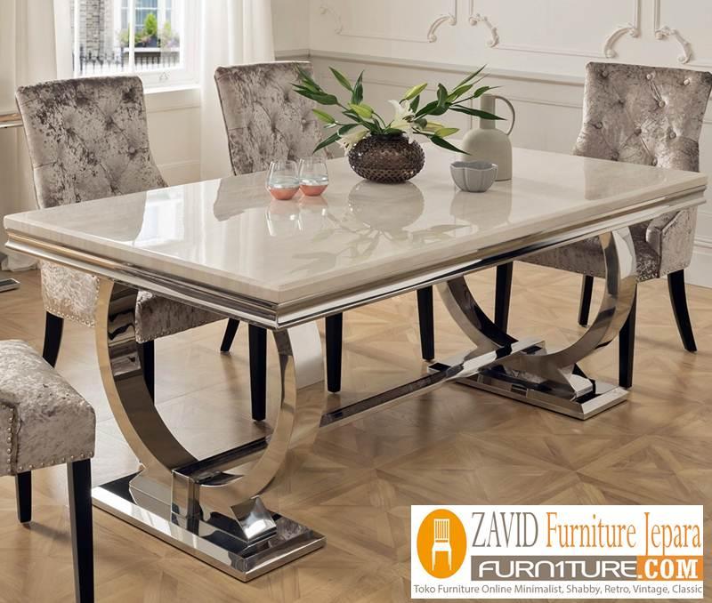 meja marmer baru - Meja Makan Marmer Persegi Panjang