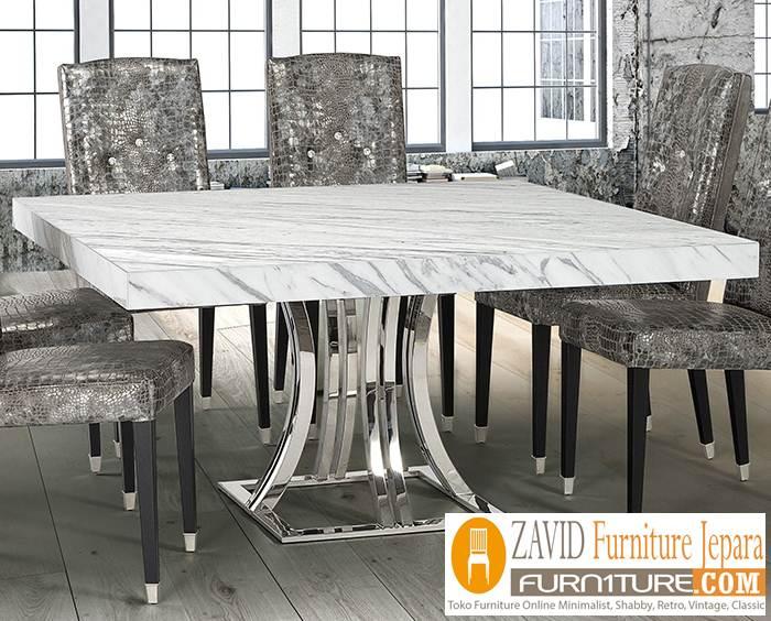 meja marmer segi 4 kaki stainless - Meja Marmer Segi 4 Desain Modern Mewah
