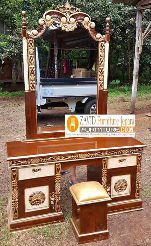 meja rias cinta kayu jati - Meja Rias Cinta Ukiran Kayu Jati Solid