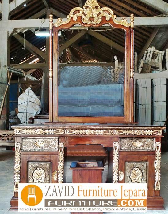 meja rias cinta ukir kayu jati - Meja Rias Cinta Ukiran Kayu Jati Solid